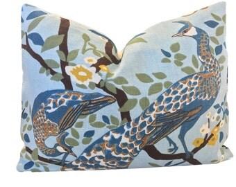 Peacock Pillow Floral Pillow Bird Pillow Robert Allen Vintage Plumes /Ivory Linen  ONE PILLOW COVER Dwell Studio Pillow Throw Pillow Covers