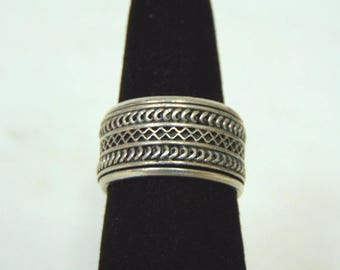 Vintage Estate .925 Sterling Silver Geo Art Spinning Ring 8.8g E3069