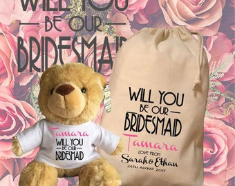 flower girl wedding day gift personalised teddy with