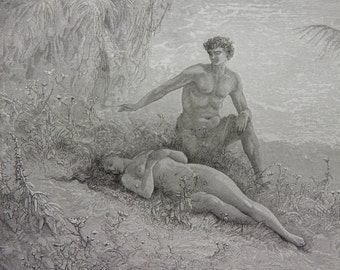 Milton's Paradise Lost by Gustave Dore Antique Print C. 1880 Adam and Eve (173)