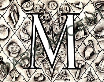 Instant digital download of Letter 'M' from 'Nouveau Petit Larousse Illustré' a French Encyclopedia. Great for arts and crafts! Dated 1952