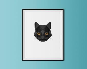 Black Cat | Black Cat Art Print | Black Cat Custom Print | Black Cat Geometric Art | Custom Cat Portrait