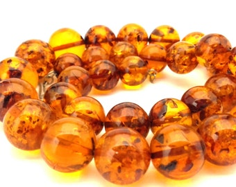 Amber Baltic Necklace Vintage Genuine Natural Round 18.0 mm Beads 69.80 Gr Honey Whiskey Cognac Color Long 52.0 Cm