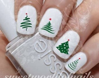 Christmas Tree Nail Art Water Decals Nail Transfers Wraps