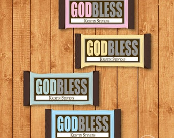 Customized God Bless Candy Bar Wrapper for Hershey Bars - You Print
