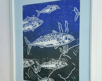 Framed and Mounted Lino Cut Mackerel Print