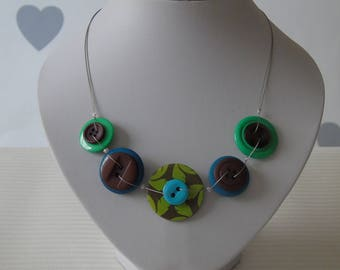 Green Button Necklace - Unusual Jewellery - Green Jewellery - Button Necklace