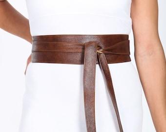 Rich Brown Leather Obi Belt   Waist Corset Belt   Real Leather Wrap Belt  Handmade Corset Belt   Waist Cincher Belt   Petite to Plus Size