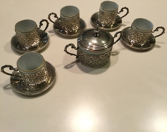 Sterling and porcelain 5  demitasse cups and sugar bowl