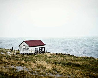 Icelandic landscape, Iceland Photography, travel photography, Iceland, blue, nature photography, Iceland art, red rooftop, house, water