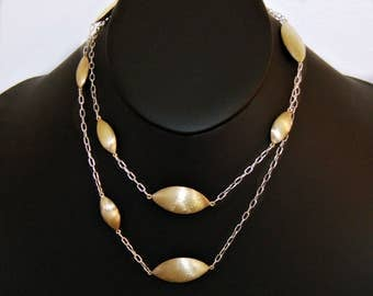 70's mod couture sterling vermeil long asymmetrical geometric necklace, elegant 925 silver gold wash pointed ovals & rectangular rolo chain