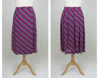 70s Vintage skirt. Midi skirt. Pink fuchsia skirt. Skirt stripes colors. Striped printed skirt. Pleated skirt. Size XS - S.