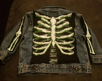 One of a KIND HANDMADE Kids Skeleton Jean Jacket!!!
