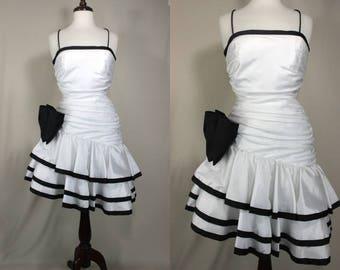 80's Prom Dress.......White Ruffled Taffeta Prom Dress Party Dress With Black Ribbon Trim