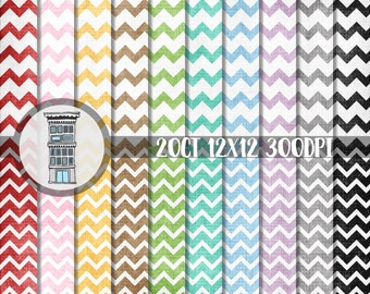 Distressed Chevron Digital Scrapbook Paper Pack INSTANT DIGITAL DOWNLOAD Aged vintage linen texture 20 papers planner stickers cards crafts