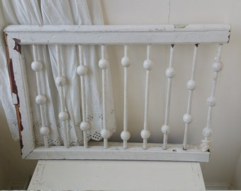 Antique Architectural Salvage Old Farmhouse Chippy White Paint Wood Framed Beauty