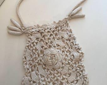 Antique Handbag Purse Victorian Reticule Crochet Cream Bag
