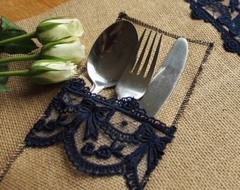 Burlap and navy vintage style lace silverware/cutlery holder wedding decor tableware