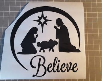 Believe Nativity Scene Vinyl Decal  - Christmas, Glass Block, Lighting, Lights, Decoration