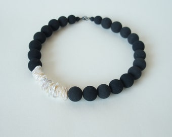 Lava keshi pearls necklace