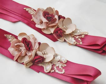 Burgundy and gold flower girl belts;wedding party belts;wedding belts