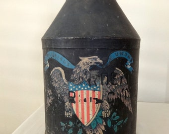 Antique Milk Pitcher Can Jug Metal American Eagle Hand Painted Vintage Country Collectible, Folk Art, Red White & Blue Shield on Black, Pail