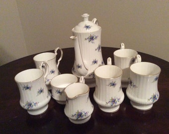 Lovely! Royal Windsor Fine Bone China Teapot/open Creamer/Sugar/5Mugs.