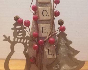 Old Hinge Christmas / Rustic Holiday Decor / Metal Hinge