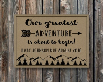 PRINTABLE Pregnancy Announcement Card Sign–Rustic Kraft Pregnancy Announcement Card–Pregnancy Reveal Card-Greatest Adventure Baby-PA21