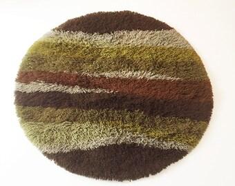 vintage 70s modernist DESSO rug rya | round mid century modern eames era 70s op art shag loft retro mod rug | DESSO wool pop design