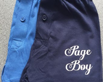 Page boy boxers, pageboy boxers, pageboy ,ring bearer, little usher, boxers, personalised boxers, groomsmen boxers, brides son , grooms son
