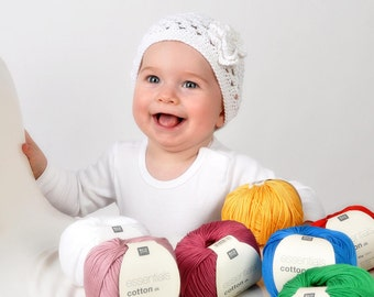 crochet baby hats from yarn to 39 cm head circumference, color selectable