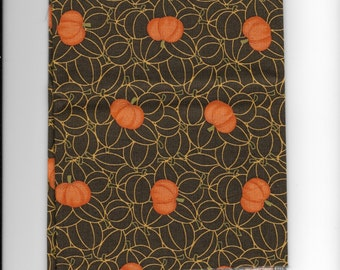 New Halloween Black with Tossed Pumpkins 100% cotton fabric by the Fat Quarter Thanksgiving