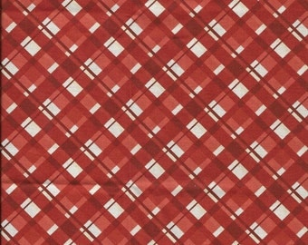 New Red and White Christmas Plaid 100% cotton fabric by the Fat Quarter