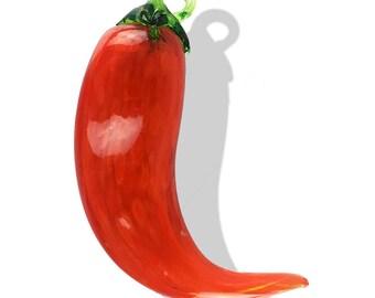 Chile Pepper Orange Blown Glass