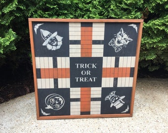 Parcheesi, Halloween, Game Board, Primitive, Folk Art, Game Boards, Black Cat, Witch, Pumpkin, Skeleton, Sign, Game