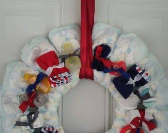Diaper wreath, boys diaper wreath, diaper cake,wall decor,door hanging, nursery decor,diapers, wreath,baby shower decor, baby shower gift