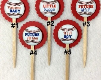Set Of 12 Personalized Baseball Boy Baby ShowerCupcake Toppers