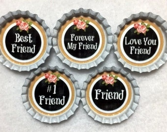 Set Of 5 Friend Bottle Cap Magnets