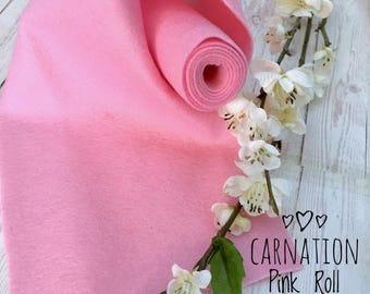 "Felt roll 5x36"" - 100% merino wool felt - Made in Europe - Meets all safety standards - Designer Felt - Carnation Pink"