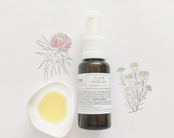 CLEAR FACE OIL ~ Oily/Combination Skin~Acne-prone skin~Rosacea type skin~Red, irritated, congested skin~Sensitive skin | Vegan |