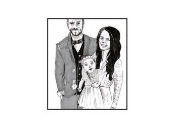 Wedding custom illustration - a perefct wedding gift for any couple