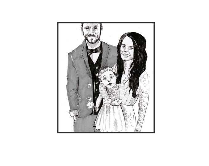 Wedding custom illustration - a perefct wedding gift for any couple