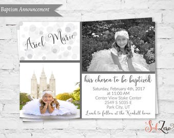 LDS Girl Baptism Invitation, LDS Baptism Invitation, Elegant white and gray bubbles with hand lettering font, Printable / Digital File 5x7