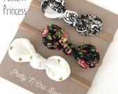 SET OF THREE - Baby Girl Set - Little Knot Headband - Baby Headband - Ponytail Holder