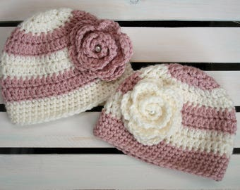 Crochet Newborn Hat - Twin Set
