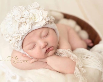 "Buy TWO and save,newborn bonnet, fabric ""fancie"" photogrpahy prop,elegant,shabby,neutral,handmade,bonnet"