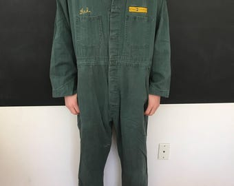 Coveralls -  Vintage Coveralls by Work Wear - SIZE 46 - Used - Worn - Fred - Caterpillar - Foley - Grease Monkey Suit - Mechanic  // LN3