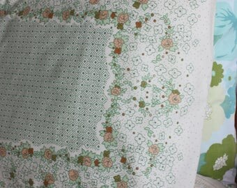 Vintage 70s floral green shabby chic retro pillowcase