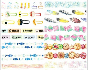 Whole Roll - Funny Washi Tape - 10 designs to choose